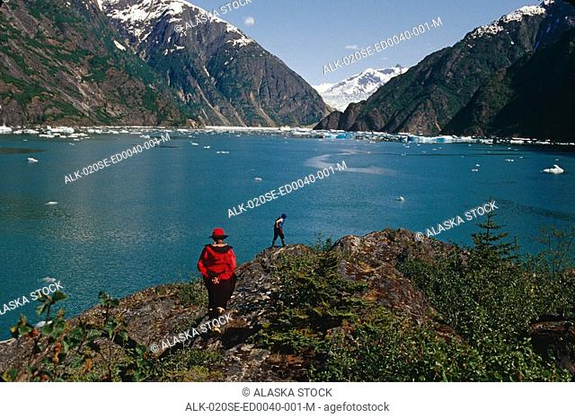 People Hiking in Tracy Arm Fords Terror Wilderness AK SE Summer