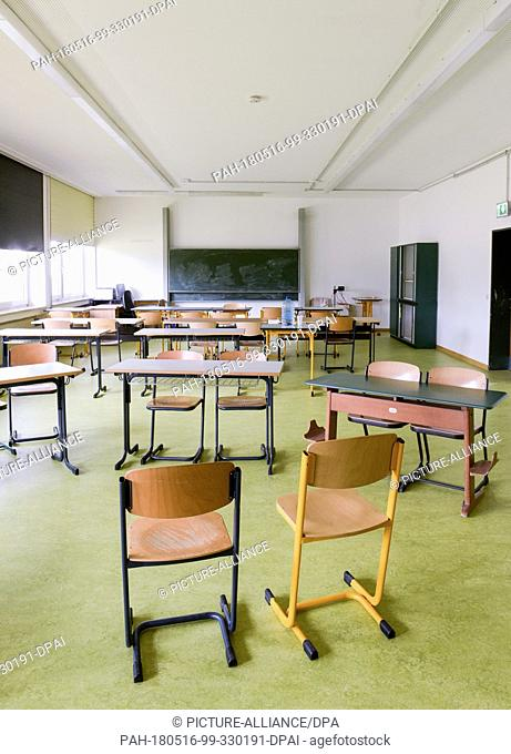15 May 2018, Germany, Manching: School furniture in a classroom in the Transit Centre for Asylum Seekers. The Transit Centre could become one of many so-called...