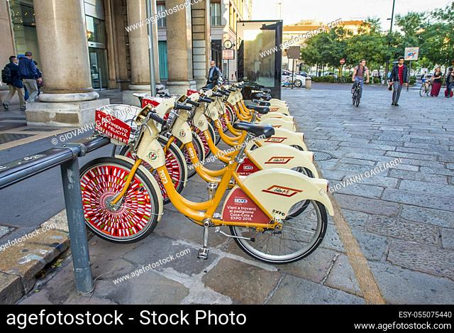 MILAN, ITALY - SEPTEMBER 2015: Bike Mi is a hub for bike rental across the city