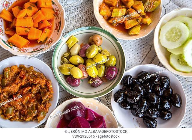 Typical Moroccan salad. Souk Medina of Fez, Fes el Bali. Morocco, Maghreb North Africa