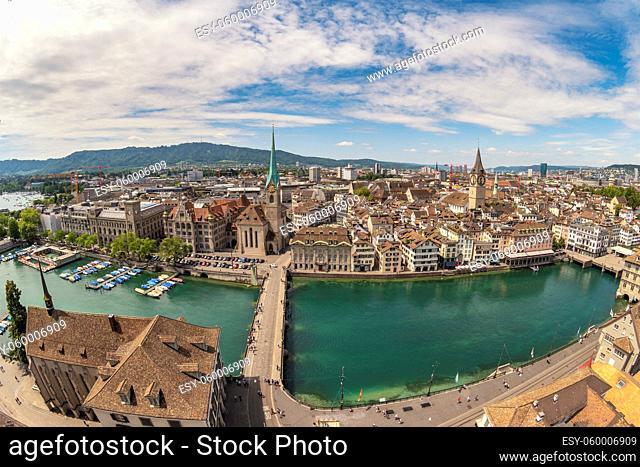 Zurich Switzerland, aerial view city skyline from Grossmunster