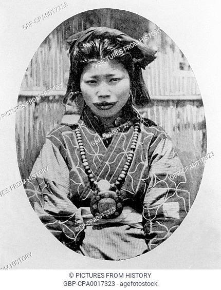 Japan: Seated Ainu woman, Arnold Genthe, 1908
