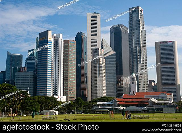 Singapore, Republic of Singapore, Asia - Cityscape with skyline of the central business district and the skyscrapers around Raffles Place during the lasting...