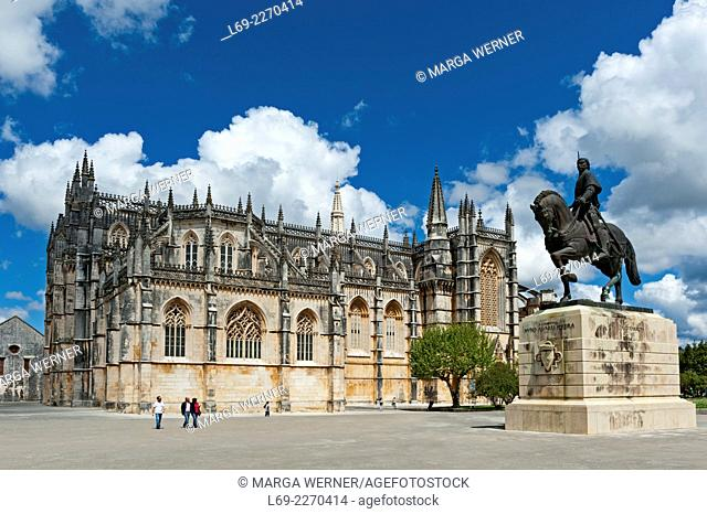 Gothic monastery of Santa Maria de Vitoria, aka Batalha monastery (14th - 16th century), World Heritage of UNESCO, and Statue of Dom Nuno Alvares Pereira
