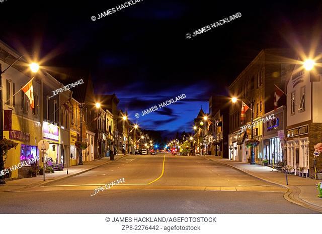 Manitoba St. in downtown Bracebridge at dusk. Ontario, Canada