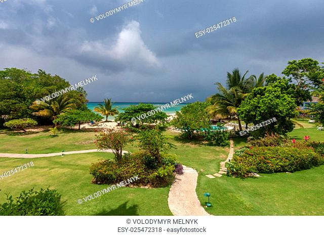A tropical garden with flowers and palm trees overlooking the ocean with gray clouds