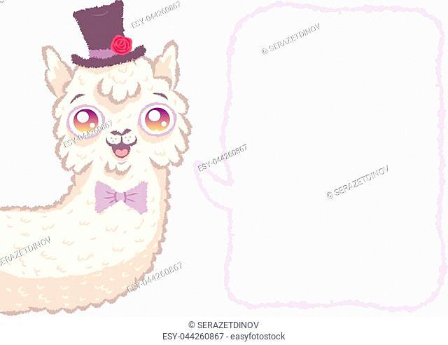 Vector illustration of a cute groom lama with comics bubble. Cute alpaca like groom