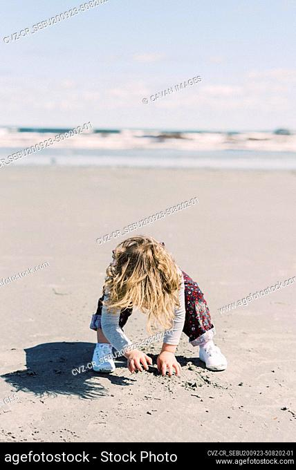 Little girl digging with her bare hands at a beach in New England