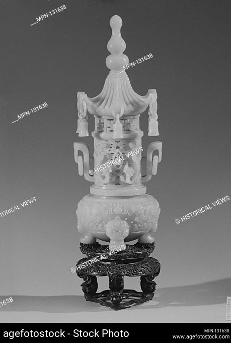 Incense burner. Date: 18th century; Culture: China; Medium: Jade; Dimensions: Overall Height 12 7/8 in. (32.7 cm); Gr. W. 5 in. (12