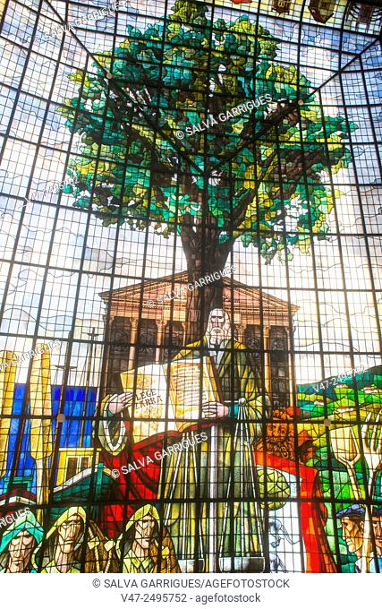 Stained glass ceiling of the Casa de Juntas, Guernica-Lumo, Guipuzcoa, Basque Country, Spain, Europe