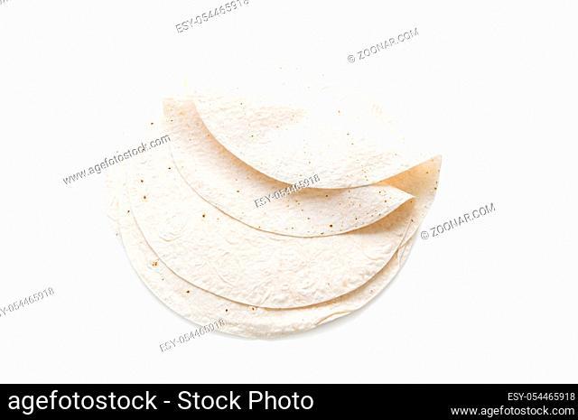 Traditional azeri lavash (bread) isolated on white