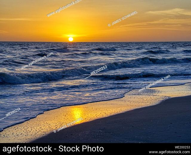 Sunset oiver the Gulf of Mexico from Sanibel Island Florida in the United States