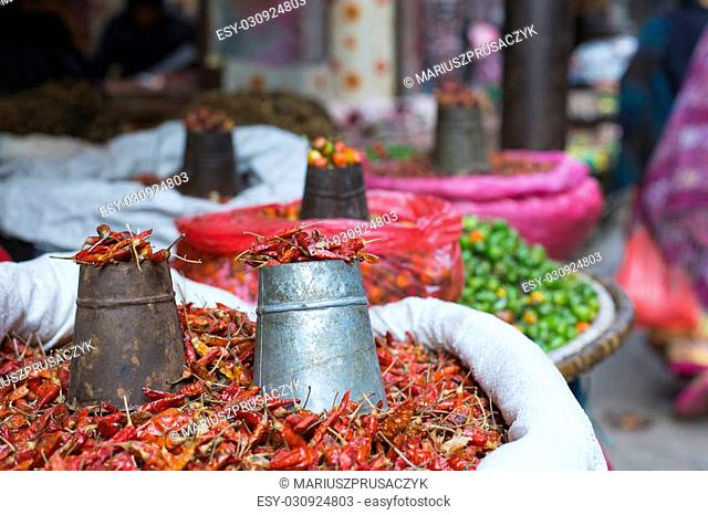 The street vendor sels his fruits and vegetables in Thamel in Kathmandu, Nepal