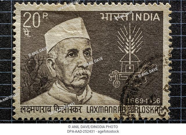 Laxmanrao kirloskar, postage stamps, india, asia