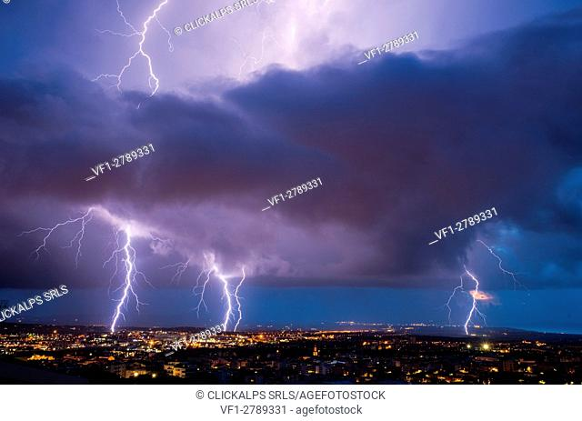 Lightning on Sassari city, Sassari province, sardinia, italy, europe