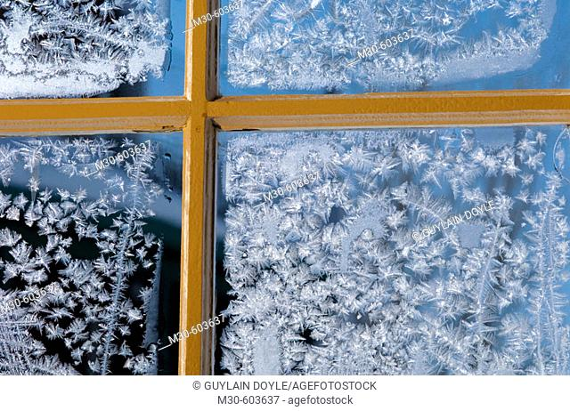 Frost on window. Saguenay, Quebec, Canada
