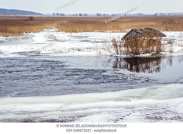 Hay rack on a frozen braided channel of Narew River in Waniewo village, Wysokie Mazowieckie County in Podlaskie Voivodeship of northeastern Poland