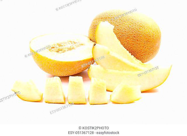 Whole, half and sliced ripe juicy melon tropical fruit at summer time isolated on a white background