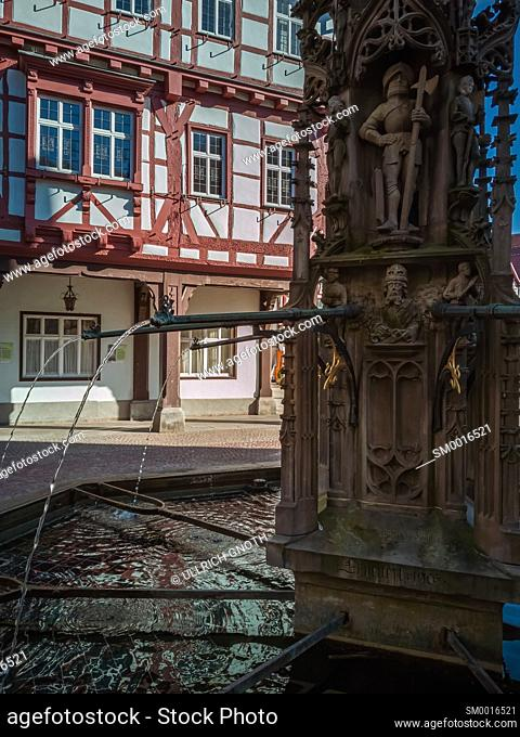 Fountain and Town Hall of Bad Urach, Swabian Alb, Baden-Württemberg, Germany