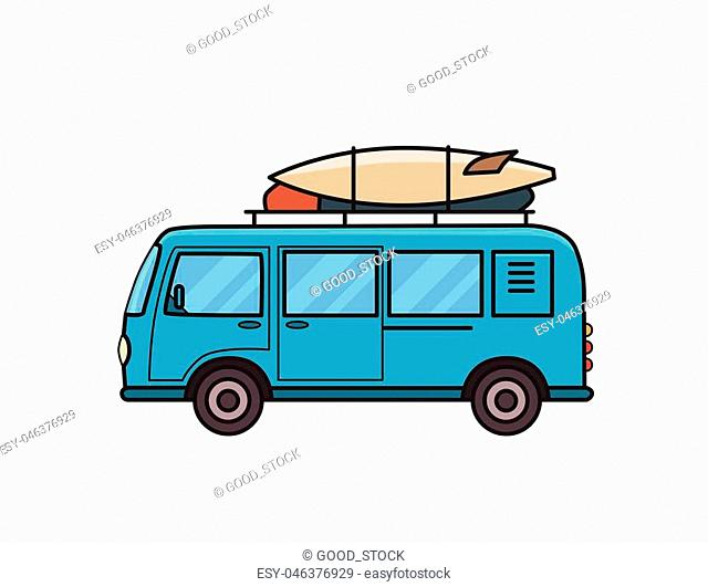 Blue minivan car with surfboard and luggage on roof rack. Surfer's vehicle, side view. Isolated image on white background. Vector illustration