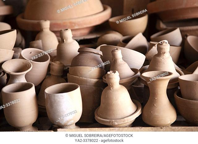 Newly Turned Pottery Drying Before Entering Oven, Studio on Outskirts of Marrakech, Morocco
