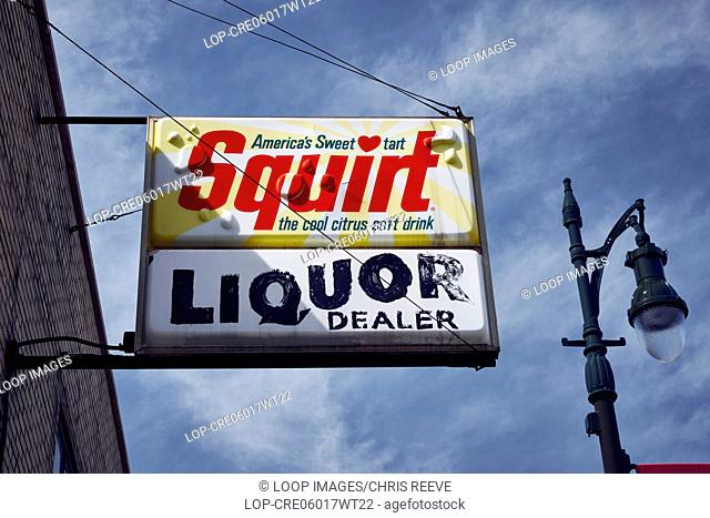 Shop signs hanging in Detroit