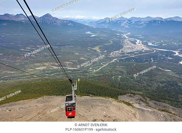 Cable car and aerial view from the summit of The Whistlers over the town Jasper, commercial centre of Jasper National Park, Alberta, Canada