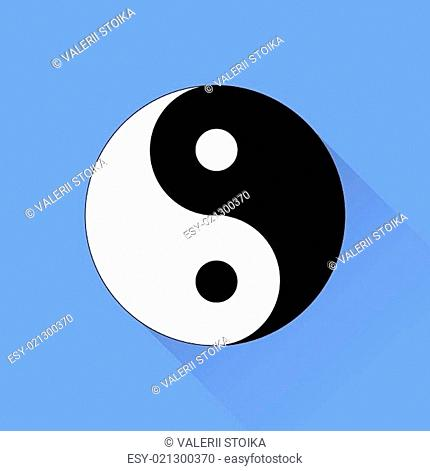 Yin Yang Symbol of of Harmony and Balance Isolated on Blue Background