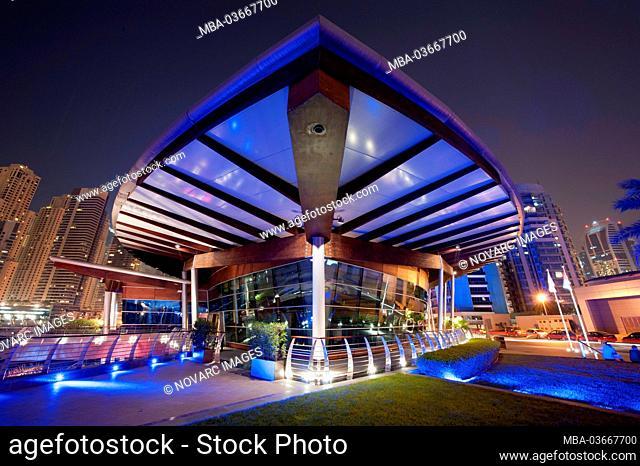 Dubai Marina Yacht Club at night, New Dubai, United Arab Emirates