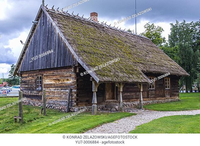 19th century wooden cottage in Museum of Folk Culture in Wegorzewo town, Warmian-Masurian Voivodeship of Poland