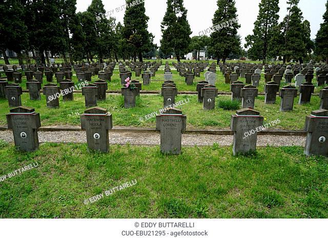 Campo 10, the wheare fascist fighters of the Salò republic are buried, Cimitero Maggiore cemetery, Musocco, Milan, Lombardy, Italy, Europe