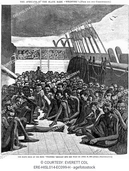 The slave deck of the ship 'Wildfire', captured transporting slaves 510 captives, from Africa to the Caribbean. Importation of African captives was outlawed in...