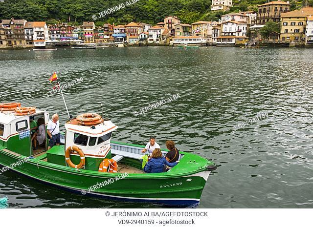 Boat crossing from Pasajes de San Pedro to Pasaia Donibane. Fishing village of Pasajes de San Juan. San Sebastian, Bay of Biscay, province of Gipuzkoa