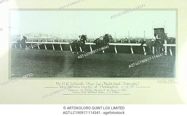 Photograph - Phar Lap Winning Victoria Derby, Framed, 1929, This framed photograph depicts Phar Lap winning the Victoria Derby at Flemington in 1929