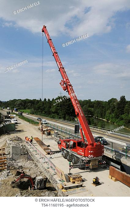 Crane on a highway construction site