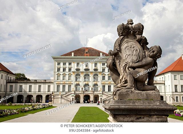 statues in front of Nymphenburg Palace in Munich, Bavaria, Germany