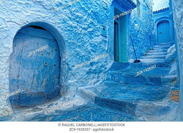 Blue painted houses Chefchaouen, Rif region, Morocco