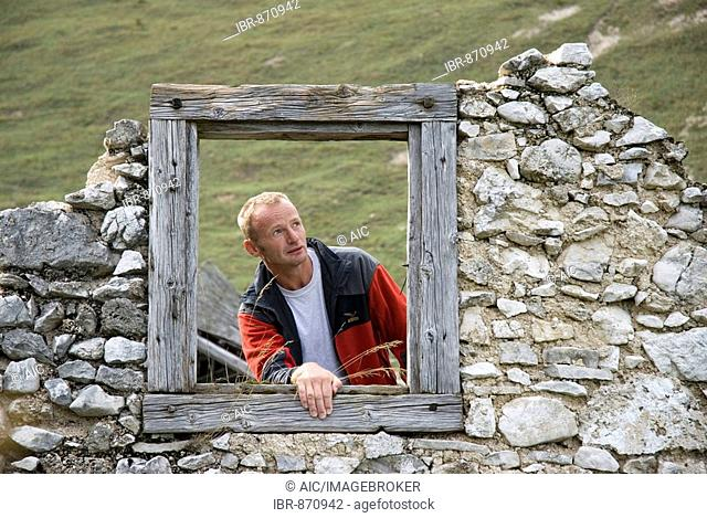 Window frame of the old Schaumberg alpine pasture cabin, Kalkalpen National Park, Upper Austria, Europe