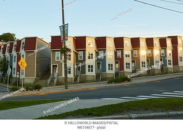 Row of modern contemporary houses at dawn, St John's, Newfoundland, Canada