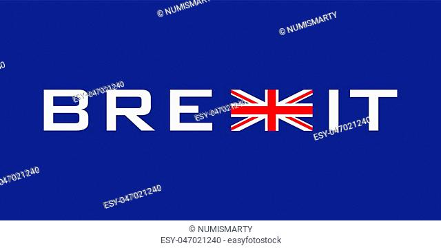 typographic symbol concerning brexit with union jack
