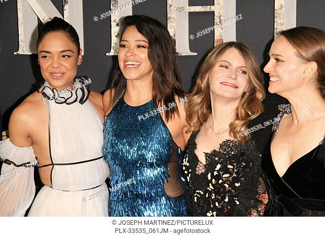 "Tessa Thompson, Gina Rodriguez, Jennifer Jason Leigh, Natalie Portman at the Premiere of Paramount Pictures' """"Annihilation"""" held at the Regency Village..."