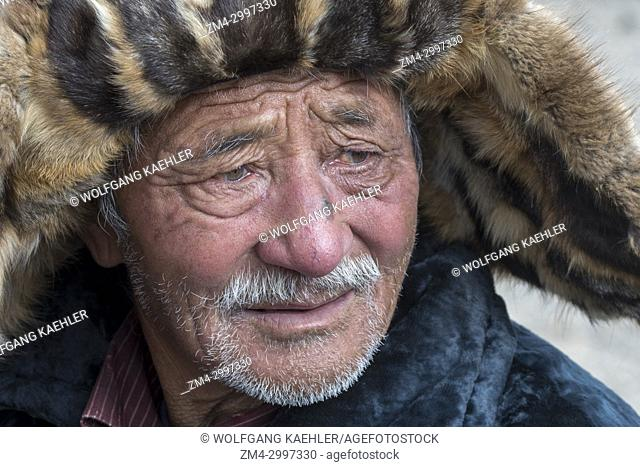 Portrait of a Kazakh man at the Golden Eagle Festival near the city of Ulgii (Ölgii) in the Bayan-Ulgii Province in western Mongolia