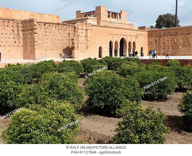 Ruins of medieval Palais El Badii high walls, narrow streets February 2017 Marrakesh - Morocco | usage worldwide. - Marrakesch/Marrakech/Morocco