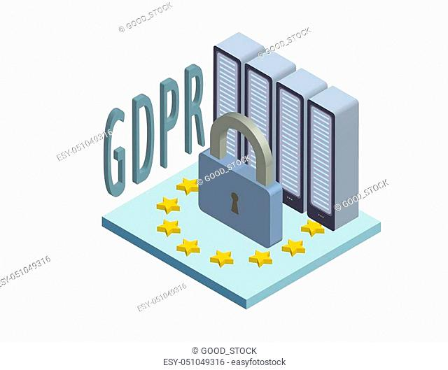 GDPR, concept isometric illustration. General Data Protection Regulation. The protection of personal data. Vector logo, isolated on white background