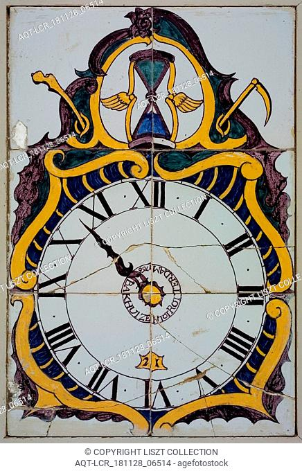 Ludolf Bakhuijzen of Arend Bakhuijzen of atelier Bakhuijzen, Tile-panel, yellow, blue, purple and green on white, clock with plate with Roman numerals