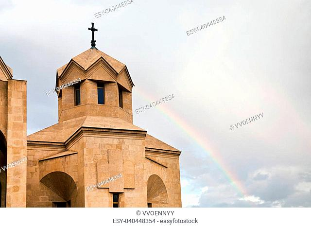 tower of Saint Gregory the Illuminator Cathedral and rainbow, Yerevan, Armenia