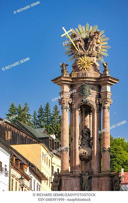 baroque column of Saint Trinity, Saint Trinity Square, Banska Stiavnica, Slovakia