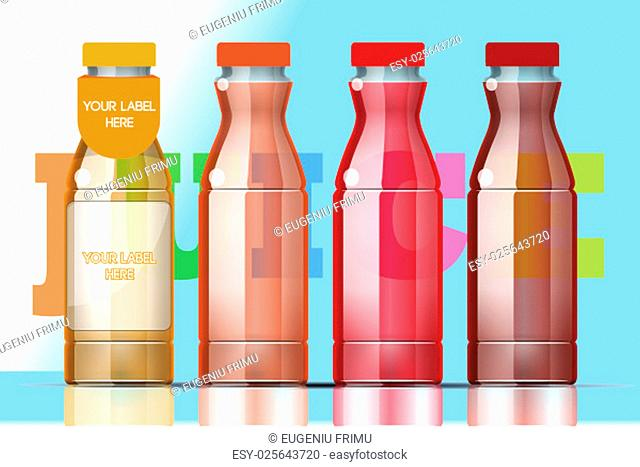 Vector set of transparent glass or plastic orange, burgundy and red liquid bottle with caps for juice mockup ready for your design