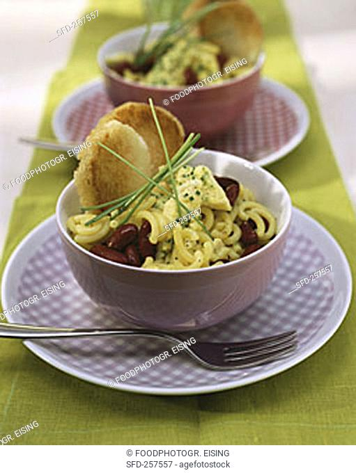 Pasta salad with scrambled egg & kidney beans for family brunch