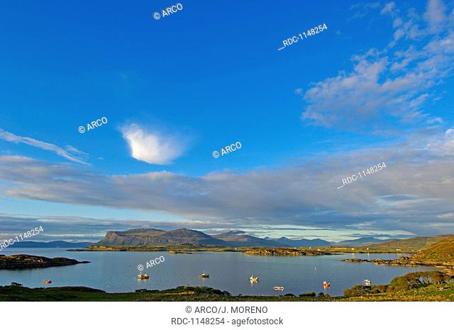 Boats in Loch Scridian, Mull, Inner Hebrides, Argyll and Bute, Scotland, United Kingdom, Europe